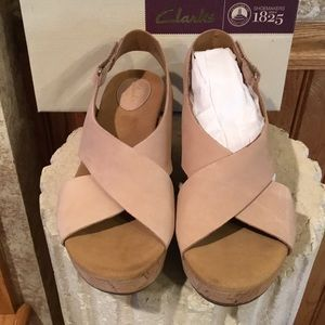 Clarks taupe/pink wedge sandals